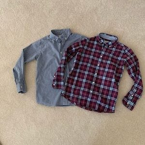 Two (2) LANDS' END boys button down shirts